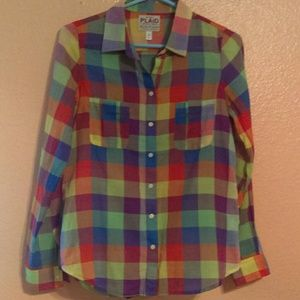 Old Navy bold plaid button down shirt